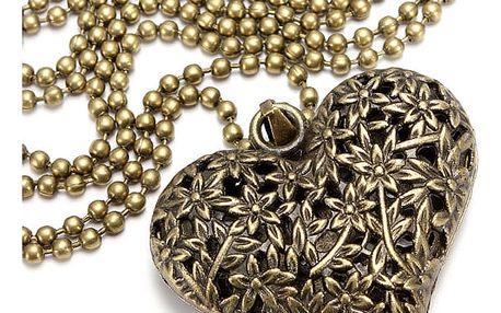 Náhrdelník s přívěskem ve tvaru srdce a raženým vzorem - dodání do 2 dnů