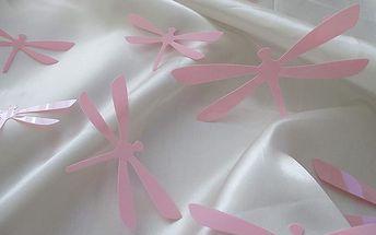 Nalepte.cz 3D dekorace na zeď vážky růžové 12 ks 11 x 6 cm