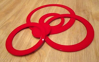 Nalepte.cz 3D dekorace na zeď kruhy červené 5ks 5 až 15 cm