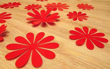 Nalepte.cz 3D květy na zeď červené 12 ks 6 až 12 cm