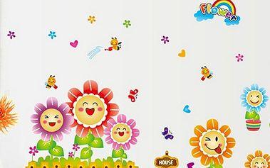 Nalepte.cz Veselé květinky 120 x 60 cm