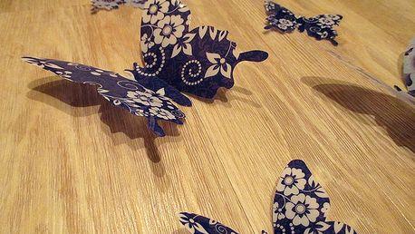 3D motýlci modří s květy 12 ks 7 až 12 cm