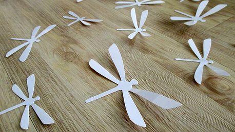 3D dekorace na zeď vážky bílá 12 ks 11 x 6 cm