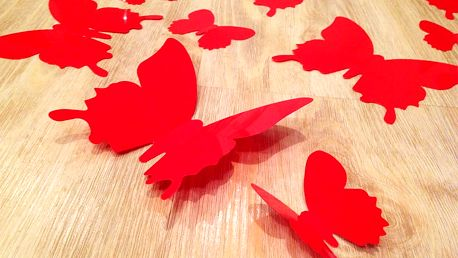 3D dekorace motýli červená 12 ks šíře 6 x 10 cm, šíře 6 x 5 cm