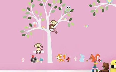 Šedý strom se zvířátky 160 x 105 cm