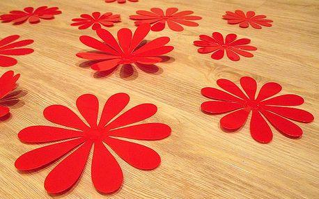 3D květy na zeď červené 12 ks 6 až 12 cm