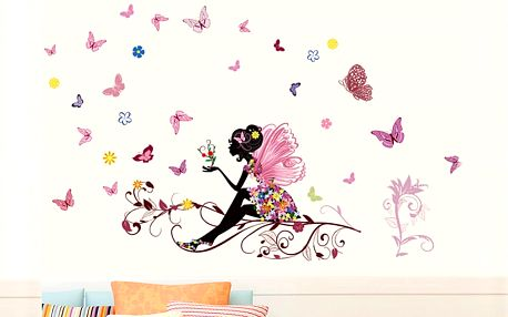 Nalepte.cz Dívka s motýlky 120 x 80 cm