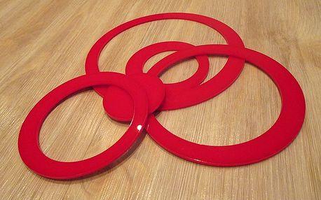 3D dekorace na zeď kruhy červené 5ks 5 až 15 cm