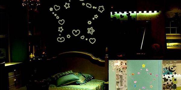 Svítící srdce a hvězdy 21 x 25 cm