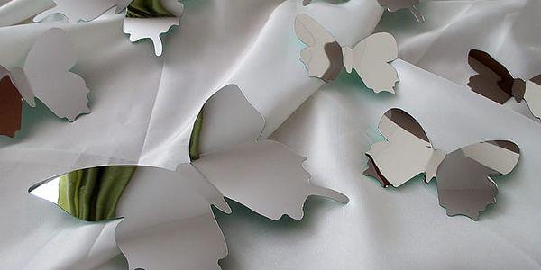 3D motýli na zeď zrcadloví 12 ks 12 x 10 cm