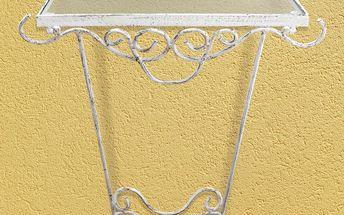 Odkládací stolek kov bílá/zlatá
