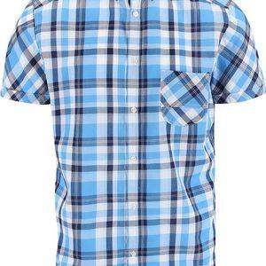 Modrá károvaná košile s krátkým rukávem !Solid Cadman