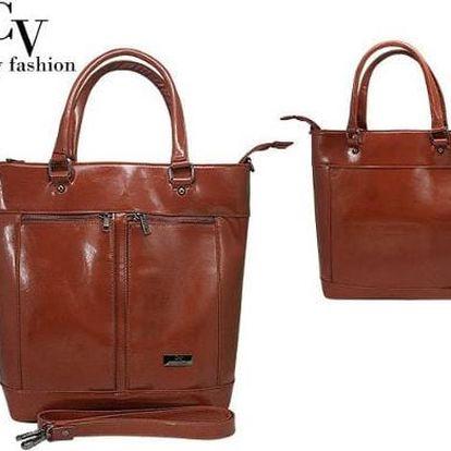 Luxusní dámská kabelka přes rameno hnědá ekokůže