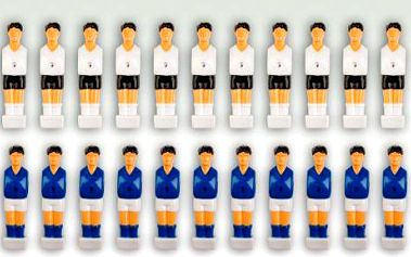 Sada 22 figurek na fotbálek bílá-modrá 2,5 x 10,5 x 2 cm