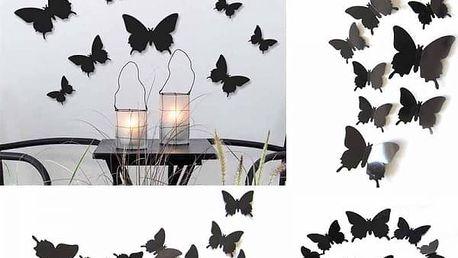 3D motýlci na zeď - černá barva