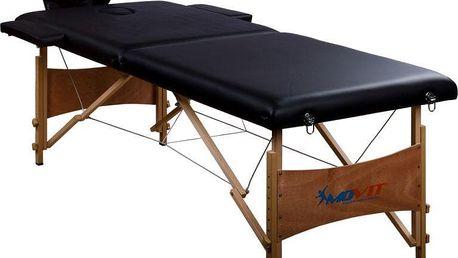 Přenosné masážní lehátko černé MOVIT 184 x 70 cm