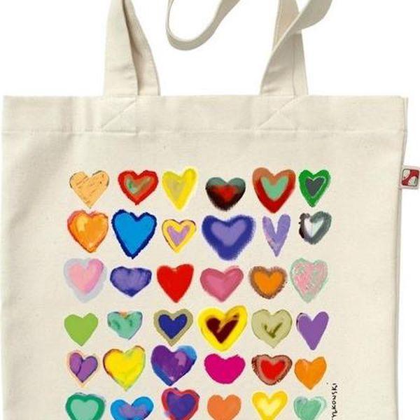 Plátěná taška Duhové Srdce