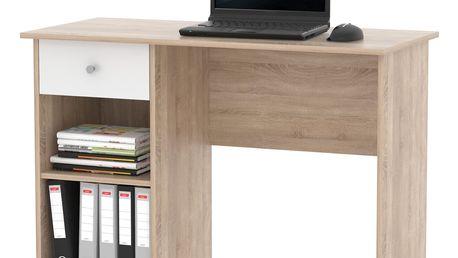 Praktický psací stůl se zásuvkou CURT, dub sonoma/bílá