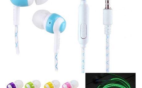Špuntová sluchátka svítící ve tmě - více barev