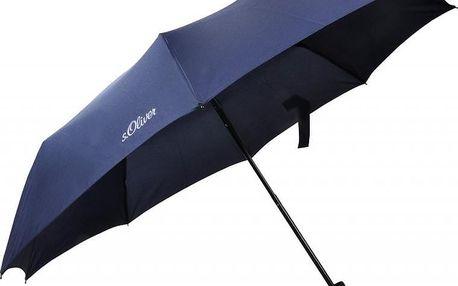 s.Oliver Dámský skládací mechanický deštník Fruit Cocktail - modrý 70801SO300
