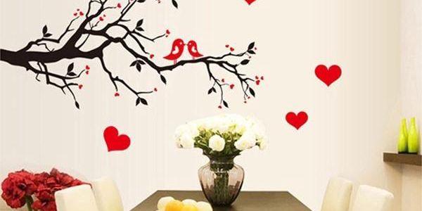 Samolepka na zeď - Větev se zamilovanými ptáčky