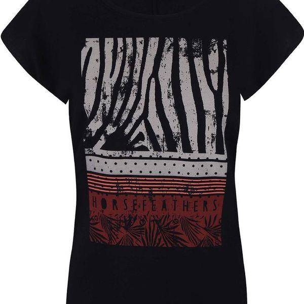 Černé tričko s potiskem Horsefeathers Pemba