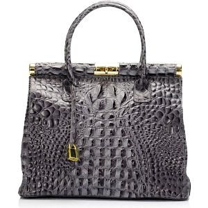 Kožená kabelka Vanya, šedá - doprava zdarma!