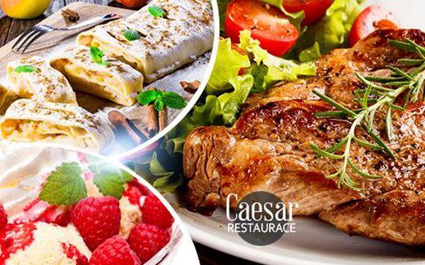Steakové vepřové menu s oblohou a 3 omáčkami pro 2 osoby nebo výběr z dezertů