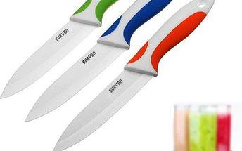 Keramický nůž ve třech barevných variantách