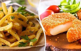 Menu pro 2 osoby: 2x 100 g smažený hermelín + 2x 100 g vačené brambory nebo hranolky