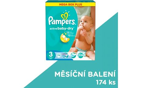 Pampers Active Baby-dry vel. 3 Midi, 174ks