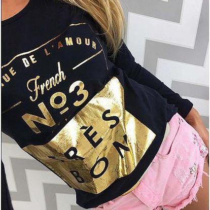 Dámské tričko se zlatým potiskem Goldie