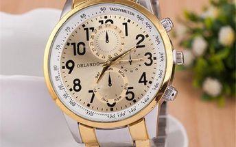Pánské hodinky s pruhem ve zlaté barvě - dodání do 2 dnů