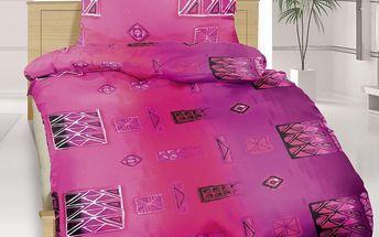 Bellatex Bavlněné povlečení Patchwork fialová, 140 x 200 cm, 70 x 90 cm