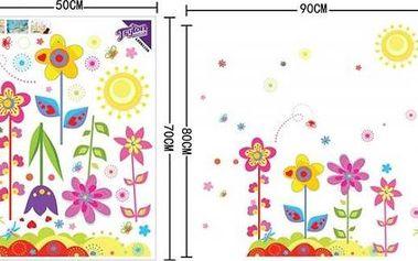 Lepící tapety na zeď - Pestrobarevné květiny - dodání do 2 dnů
