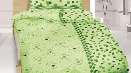 Bellatex Saténové povlečení Geometrie zelená