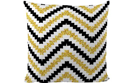 Polštářek Black Shake Gold Waves, 50x50 cm