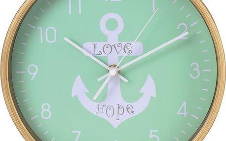 Hama HG-260 nástěnné hodiny, design s kotvou, tichý chod, dřevěné