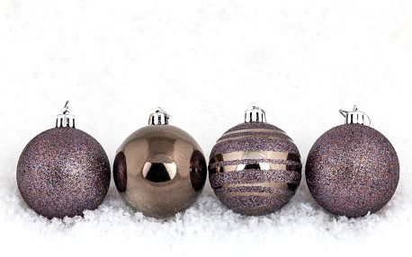 Vánoční koule pr. 8 cm, tmavě měděná, HTH