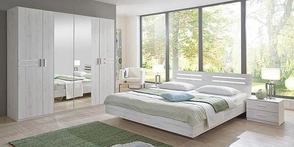 Ložnicový komplet Susan, postel 180cm (bílý dub, chromové prvky)
