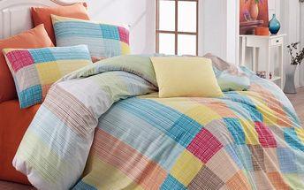 Bedtex Bavlněné povlečení Karo oranžová, 140 x 200 cm, 70 x 90 cm