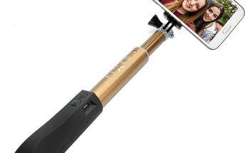 Teleskopický selfie stick FIXED s BT spouští, zlatý