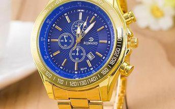 Elegantní pánské hodinky ve zlaté barvě - 3 barvy ciferníku