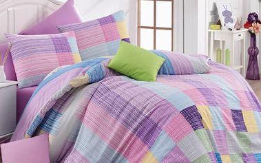 Bedtex Bavlněné povlečení Karo fialová, 140 x 220 cm, 70 x 90 cm