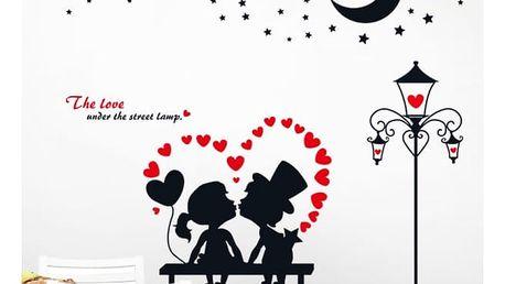 Samolepka na zeď - Zamilovaný pár v srdíčku - dodání do 2 dnů