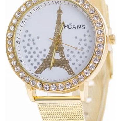Dámské hodinky s Eiffelovou věží ve zlaté barvě - dodání do 2 dnů