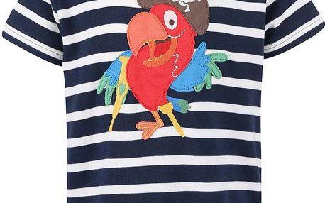 Tmavě modré chlapecké tričko s papouškem Frugi Ollie