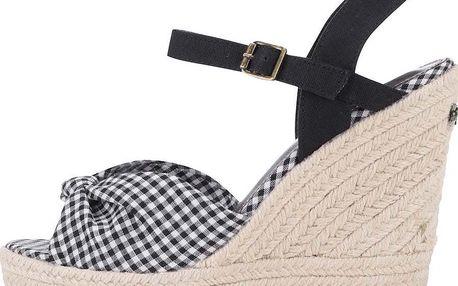 Černé dámské kostkované sandálky na platformě a klínku Pepe Jeans