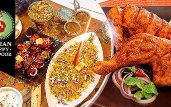 Konzumace v hodnotě 600 Kč v indické restauraci Indian Happy Tandoor blízko metra Kobylisy