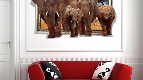 3D samolepka na zeď - Sloní stádo